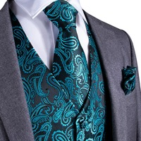 DiBanGu Teal Green Paisley Fashion Wedding Men 100%Silk Waistcoat Vest Ties Hanky Cufflinks Cravat Set for Suit Tuxedo MJTZ 107