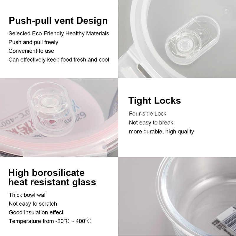 OTOR Saudável Material de Caixa de Almoço 3 Compartimentos Caixas Bento Microondas Louça de Vidro Lancheira Recipiente De Armazenamento De Alimentos Mais Nítidas