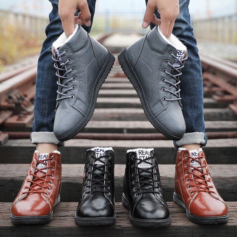 0050e4d5b144c3 D'hiver Chaussures Zapatillas Mode Super Bottes Hommes Chaud dessus Haut  Dentelle Confortable Hiver up Martin AOFqWBv