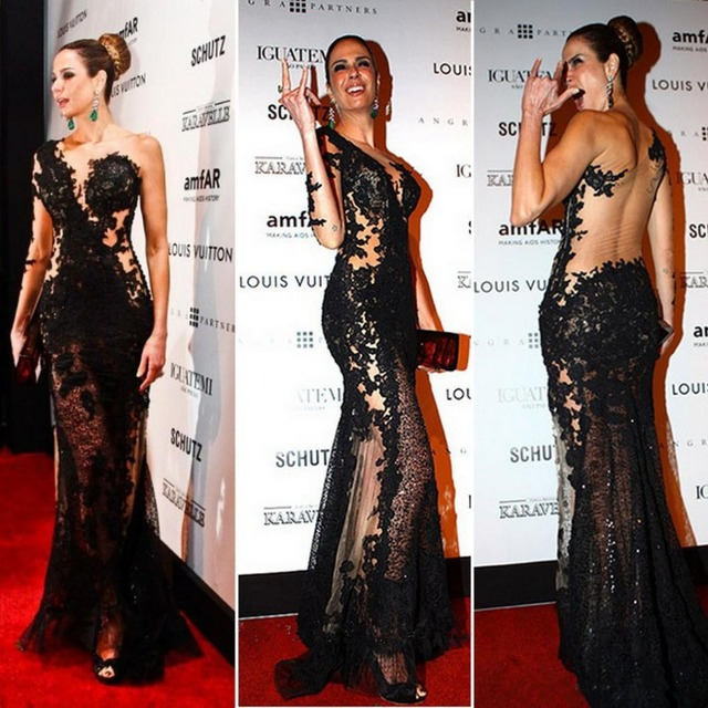 Luciana Gimenez Celebrity Red Carpet Sexy Dress Black Lace Sheer Dress Evening Dress 2017 Vestido De Festa Longo Com Renda