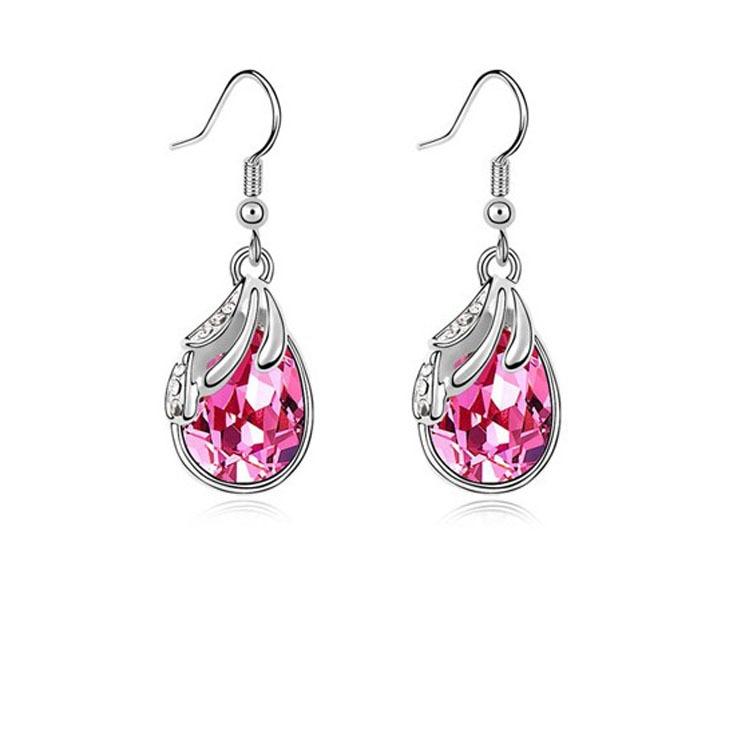 Silver Water Drop Earrings White Women Pendientes Nickel Free Brincos De Prata 3