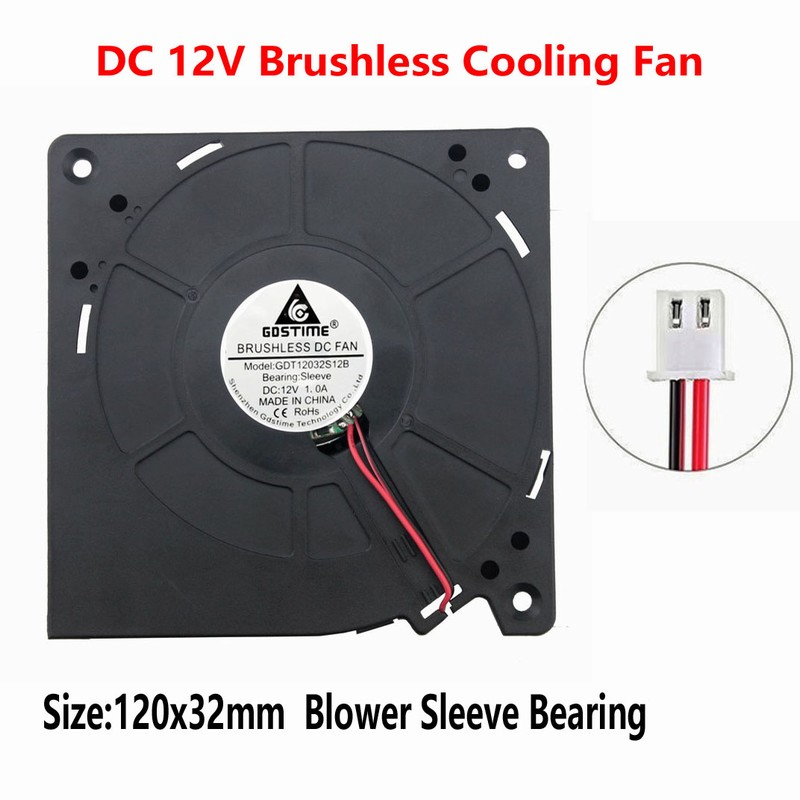 1pcs Gdstime 12v 120mm Large Turbo Fan 120mm x 32mm Brushless DC Blower Cooling Fan 12Volt 12032 120x32mm gdstime 1 piece 2 wire cooling brushless exhuat blower cooling fan 120mm 2 pin 120x120x32mm dc 12v 12032 sleeve bearing