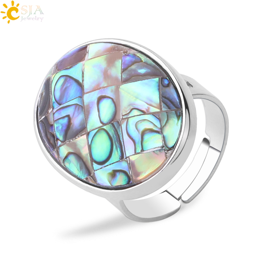 CSJA Natural Paua Shell Finger Rings Men Girl Mother of Pearl Abalone Shell Colorful Yellow Silver Color White Wedding Band F853