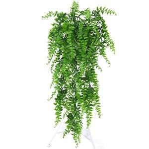 Image 1 - Kunstmatige Plastic Perzische Fern Boom Bladeren Plastic Groene Simulatie Plant Nep Bladeren Rotan Klassieke Home Decoratie
