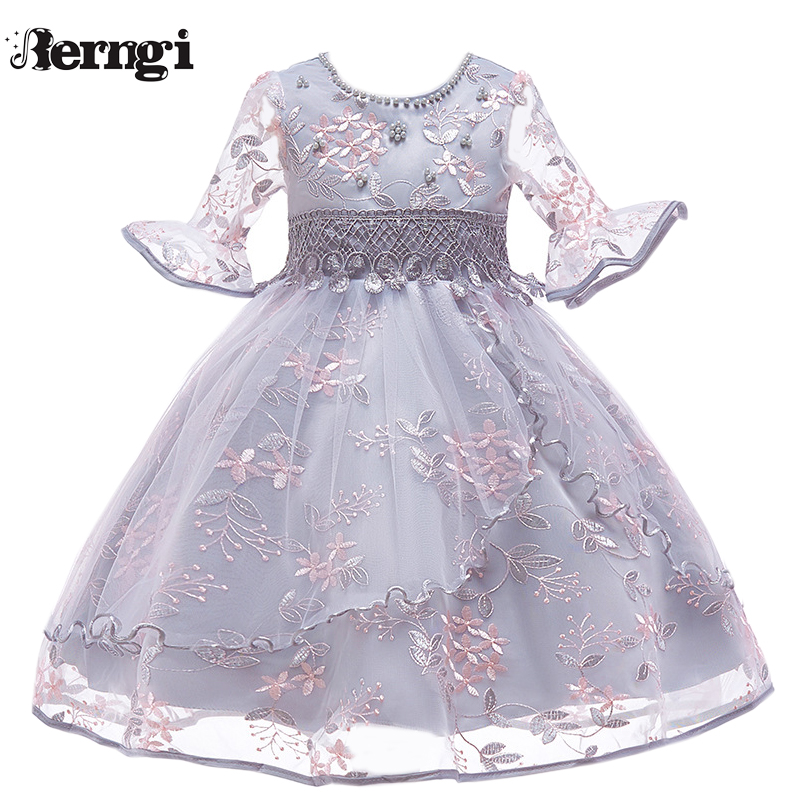 Berngi Kids Girl Flare sleeves Embroidered Gauze Princess Dress Neckline Beaded Dress For Child's Wedding Birthday Party Outfits surplice neckline self tie circle dress
