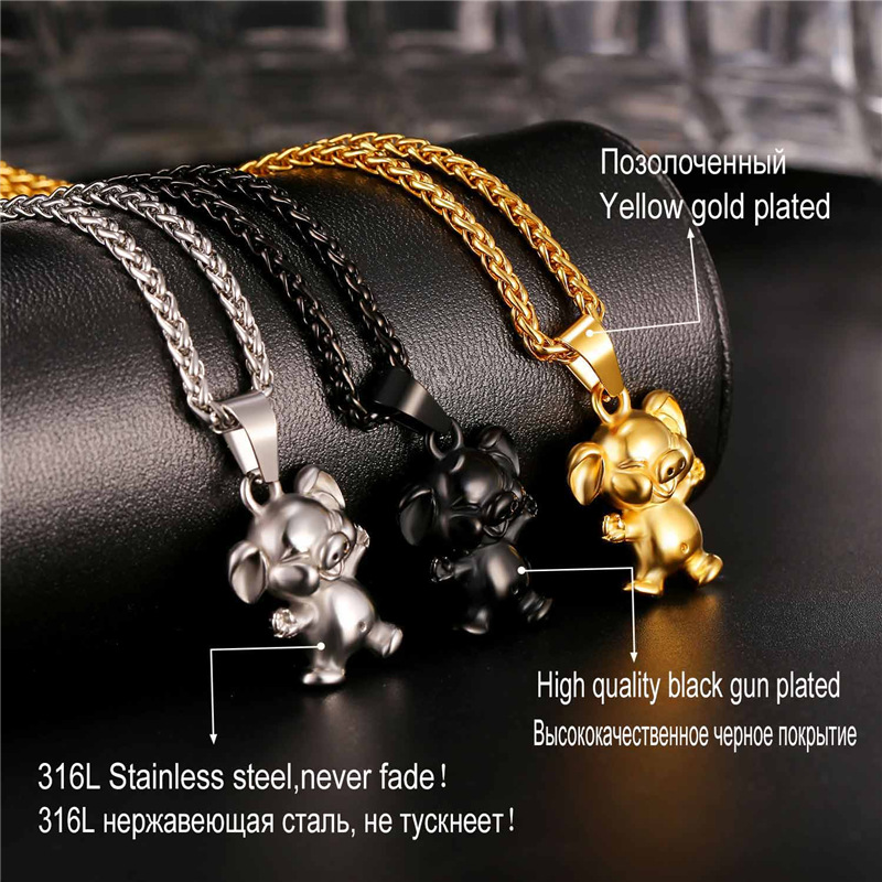 U7 Cute Little Pig Necklace Gold Color Stainless Steel Chain Pendant Animal Jewelry For Men Women Gift 2017 New P1044 in Pendant Necklaces from Jewelry Accessories