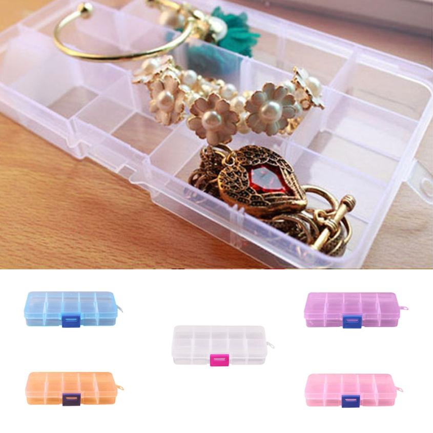 Home Multifunction Storage case 10 Grids Adjustable Jewelry Beads Pills Nail Art Tips Storage Box Case portable tools apr30