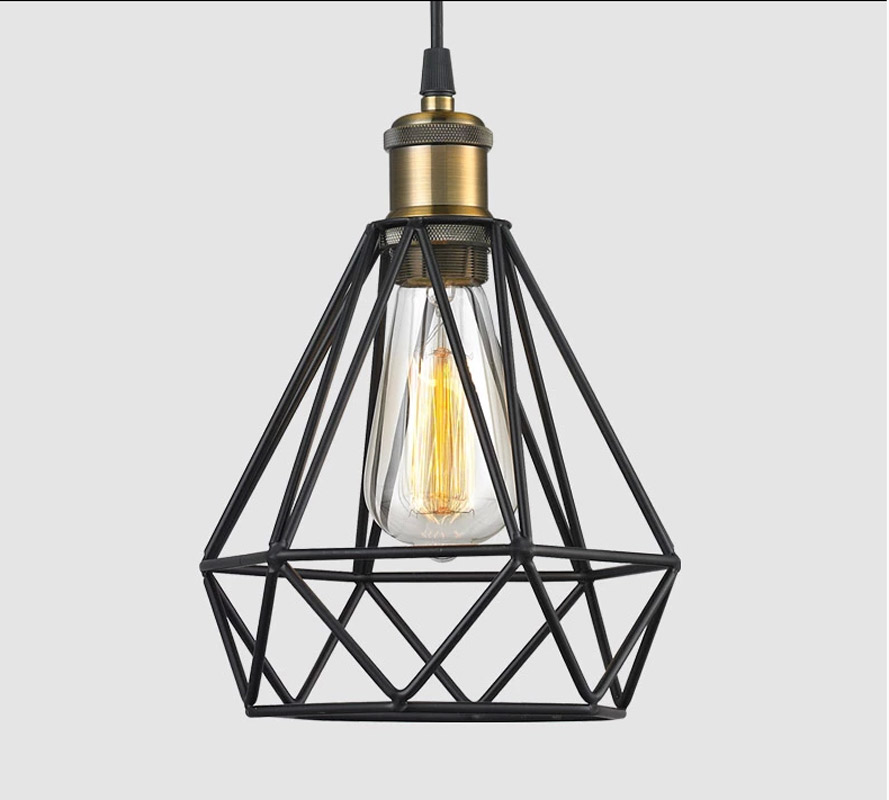 Industrial black Vintage Diamond Cage Pendant Light Hanging Droplight Lamp AC110~260 E27 Socket pendant lamp for restaurants barIndustrial black Vintage Diamond Cage Pendant Light Hanging Droplight Lamp AC110~260 E27 Socket pendant lamp for restaurants bar