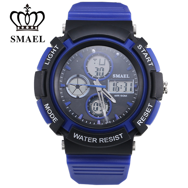 5ATM Waterproof Activity Mens 50m Waterproof Sports LED Electronic Watch Fashion Teenage Present Men Gift Dual Display 1310