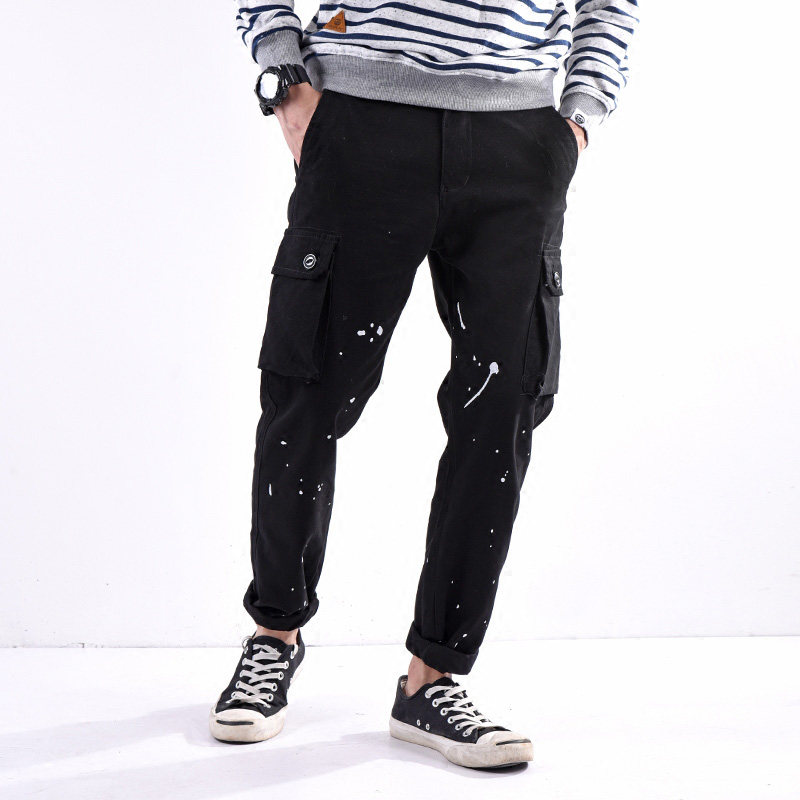 Japanese Style Fashion Mens Jeans Casual Pants Paint Printed Jeans Men Punk Style Hip Hop Trousers Big Pocket Cargo Pants hombre