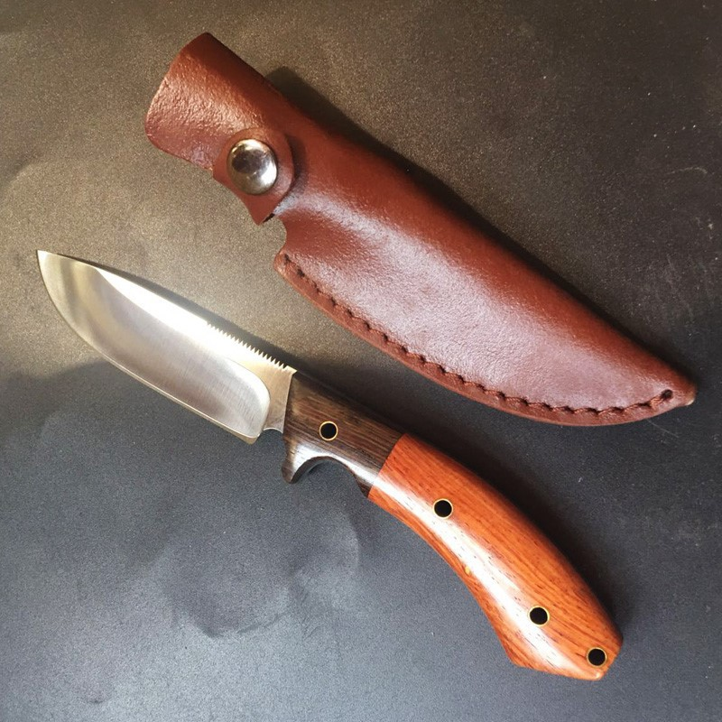 VOLTRON Wood Handle Hunting Knife Survival Rescue Camping knives Ourdoor Edc tool with Leather sheath Dropshipping voltron wood handle hunting knife survival rescue camping knives ourdoor edc tool with leather sheath dropshipping