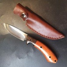 Wood Handle Hunting Knife Survival Rescue Camping knives Ourdoor Edc tool with Leather sheath Dropshipping