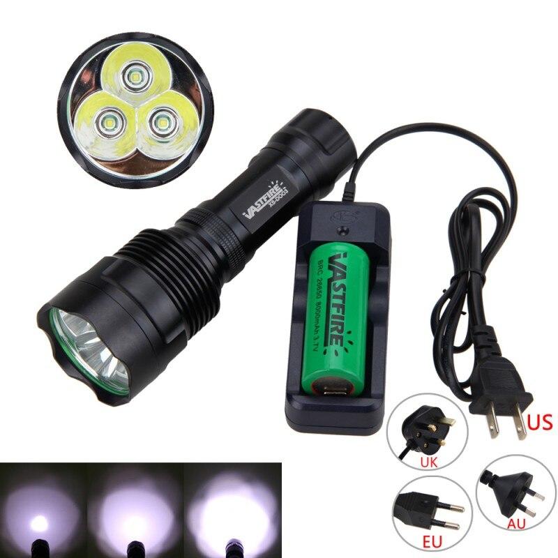8000mAh 26650 Battery 3x XM-L T6 6000Lm LED Flashlight Lantern Torches Lamp Flash Light With Charger аккумулятор d minamoto r20 8000 mah nimh 2 штуки