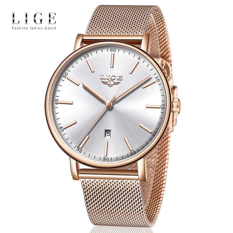 LIGE นาฬิกาข้อมือสตรียอดนิยมนาฬิกาข้อมือนาฬิกากันน้ำแฟชั่นสุภาพสตรีสแตนเลส Ultra-Thin นาฬิกาข้อมือควอตซ์นาฬิกา