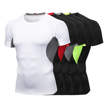 New Short Sleeve Sport Running Shirt Men Qucik Dry Top Breathable Fitness Tight Bodybuilding Sportswear Mens Tshirt