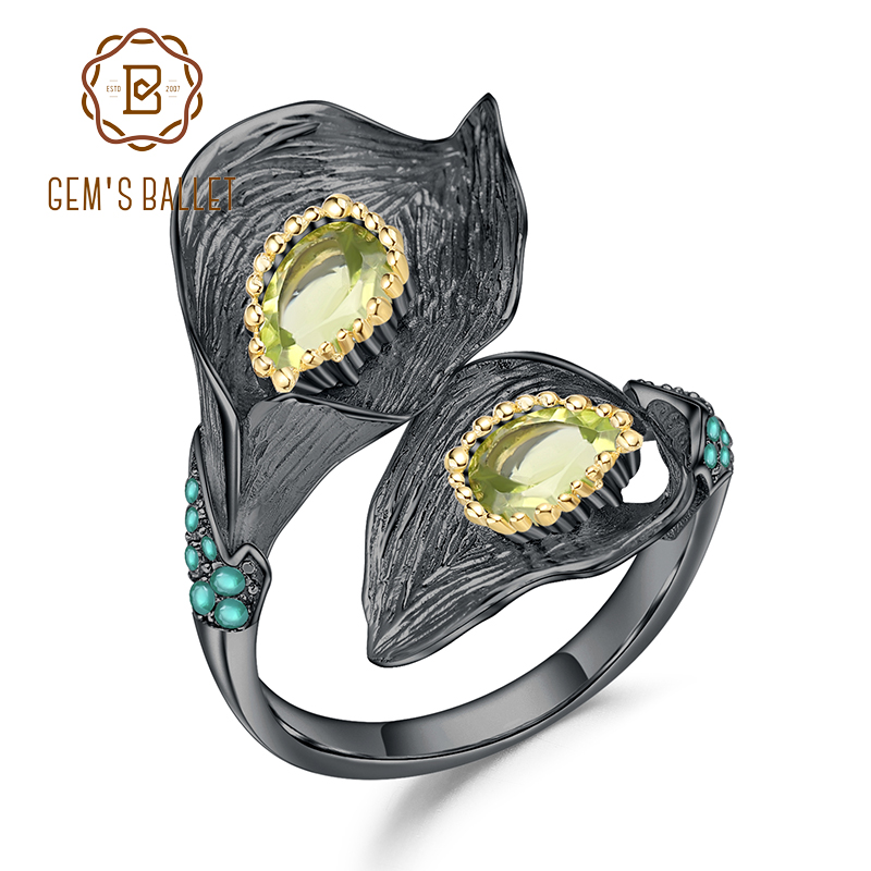 GEM'S BALLET  Calla Lily Leaf Rings 1.25C Natural Peridot Handmade Design 925 Sterling Silver Adjustable Ring For Women Bijoux