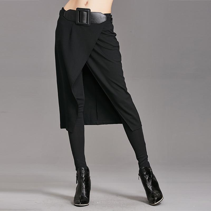 2020 Spring Autumn Women Pants High Stretch Fake Two Pieces Pant Skirt Female Pants Women Fashion Long Pant Streetwear WP24