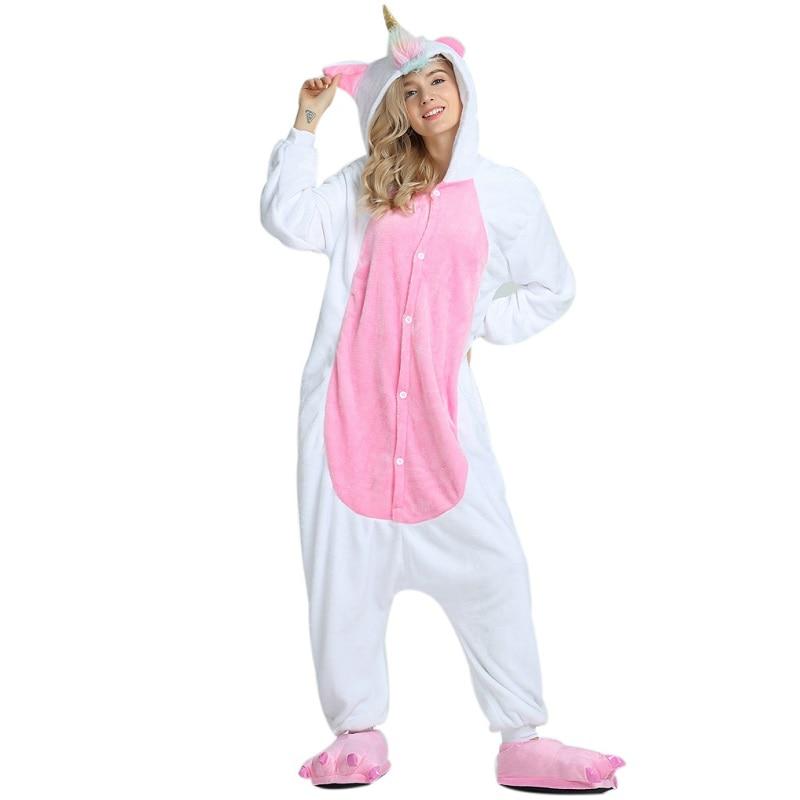Hiver Mignon Animal de Bande Dessinée Licorne Pyjamas Nouveau 2018 Mignon À Capuchon Adulte de Nuit Pour Les Femmes Unicornio Licorne Femmes