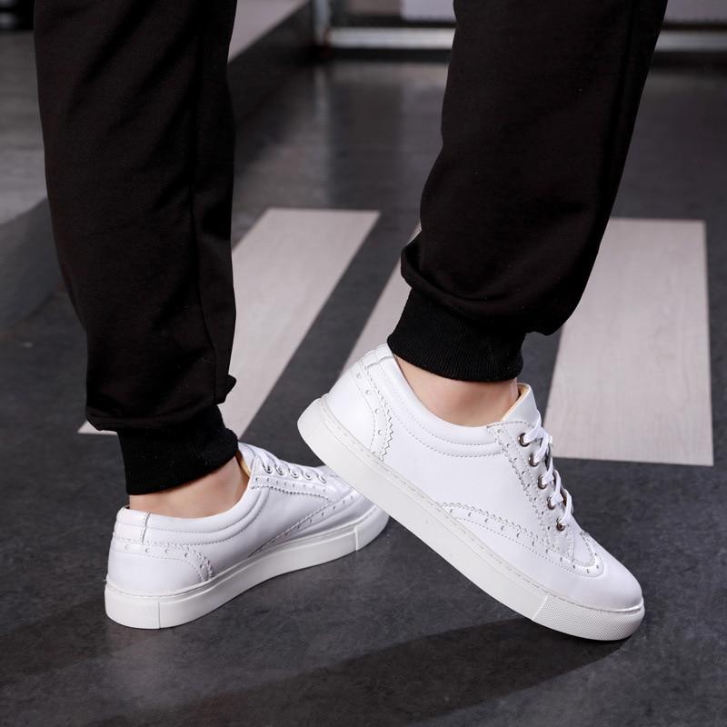 Do Respirável Primavera Brancos Casuais Homens Genuíno Esculpida Branco Único Dos Sapatos Masculina Moda Sapatilha De Bullock Couro Botas vqt1rvwP