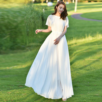 Oversized Summer Dress Short Sleeves Chiffon Beach Long Dress White Holiday Skirtmaxi Dresses