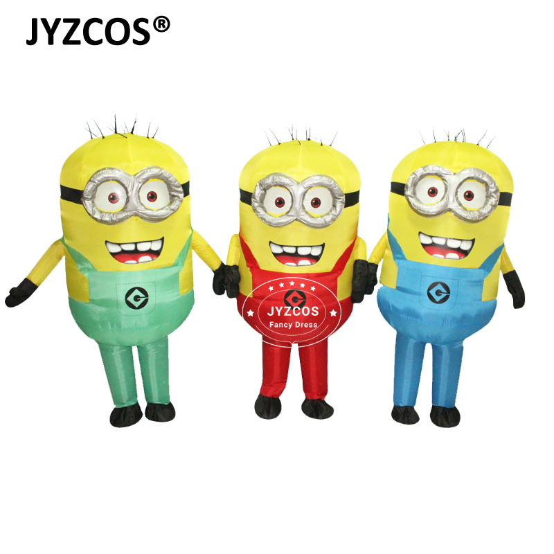 JYZCOS Halloween Cosplay Party Cartoon Adult Inflatable Minion Costume Mascot Fancy Dress for Men Women Carnival Blue Green Red