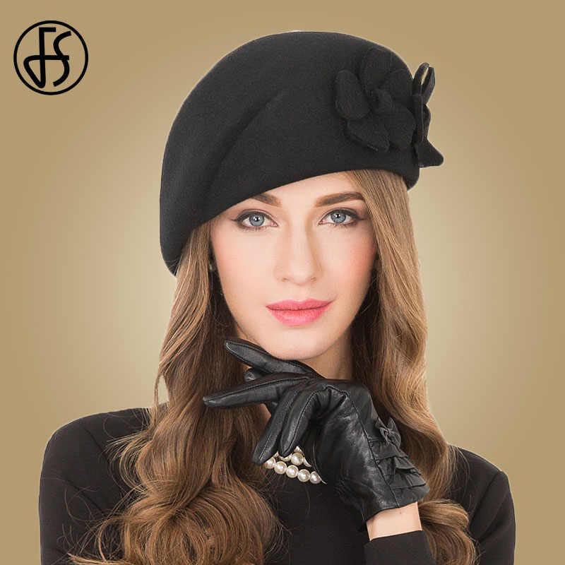 c7db9f6188bb7 FS Elegant Female 100% Wool Flower Black Fedora Hat England Style Vintage Winter  Women Felt
