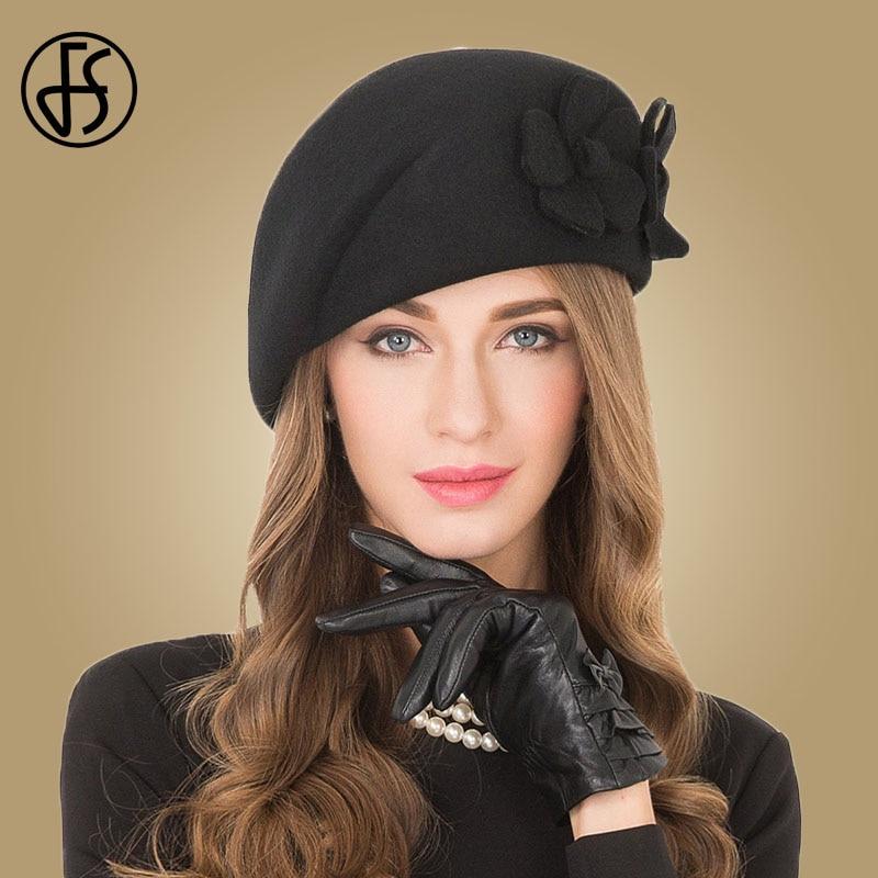 FS Vintage Black French Beret 100% Wool Hat For Women Red Pink Flower Fedora Winter Felt Ladies Church Hats Chepeau Feminino
