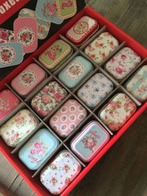 32 pcs/lot floral design mini storage box Small Tin Secret Storage Tobacco Box Little Candy Smoking Pill jewelry container
