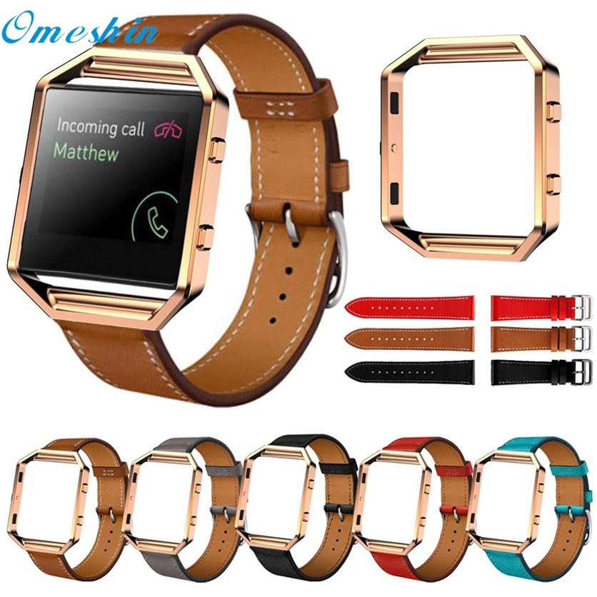 OMESHIN SimpleStone Luxury Genuine Leather Watch band Wrist strap Metal Frame For Fitbit Blaze Smart Watch