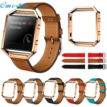 OMESHIN SimpleStone Luxury Genuine Leather Watch band Wrist strap + Metal Frame For Fitbit Blaze Smart Watch June17