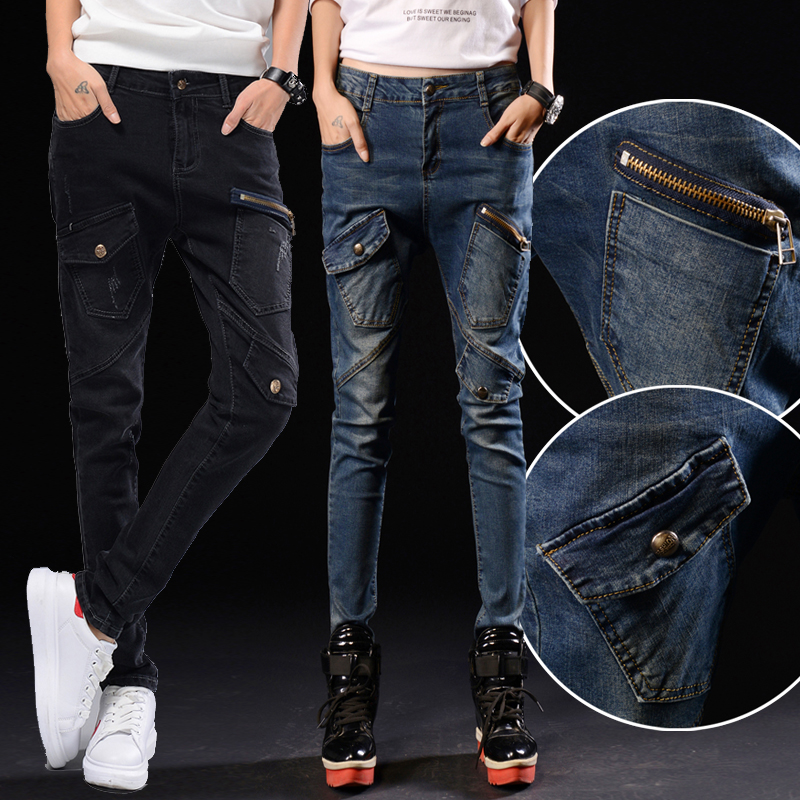 2017 new Harlan jeans women trousers large size broken pants Slim was thin wild feet pants Korean version of the tide new printing jeans men s slim feet pants korean flower pants nightclubs hairdressers thin style summer mens trousers size 28 38