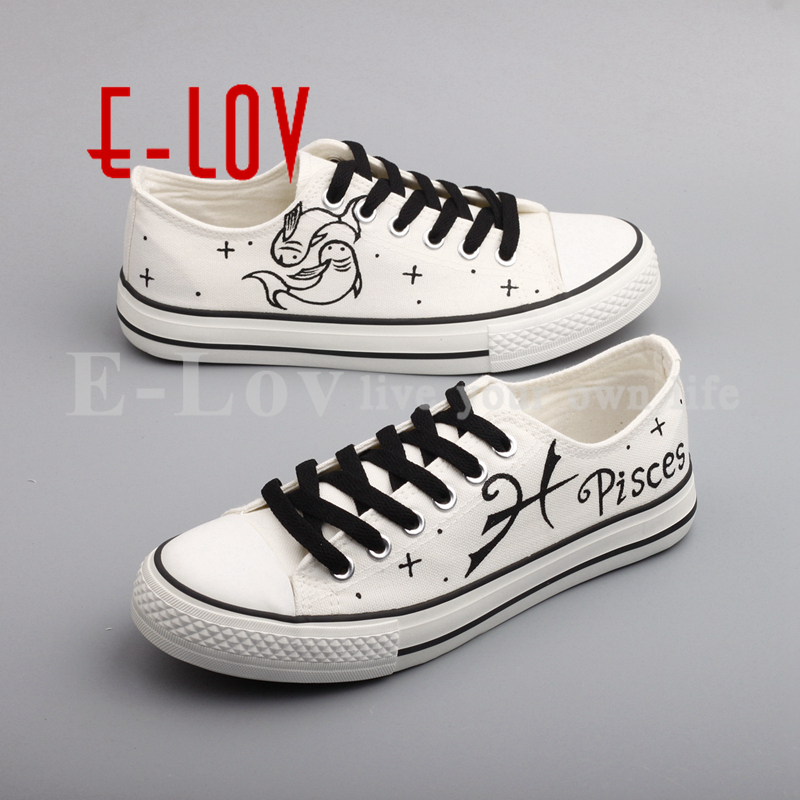 E-LOV Personality Hand Painted Pisces Constellation Canvas Shoes Women Girls Graffiti Horoscope Flat Shoes Casual e lov new arrival luminous canvas shoes graffiti pisces horoscope couples casual shoes espadrilles women