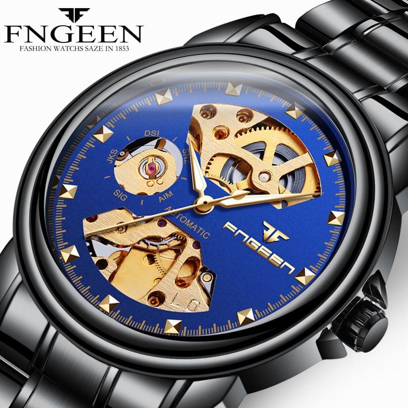 купить FNGEEN Hot Hollow Watch Men Stainless Steel Automatic Mechanical Watches Black Waterproof Male Wristwatch Relogio Masculino по цене 1126.54 рублей