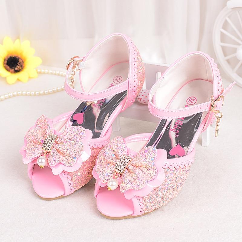 2018 summer girls sandals new children's high heels sequins bow Princess shoes 26-37