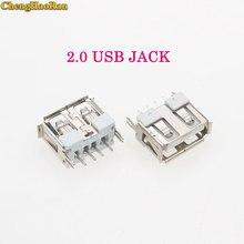 ChengHaoRan 1pcs Notebook Laptop USB Jack female Socket 2.0 180 degree Short type Connector