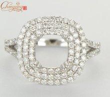 6.5mm Cushion 14K WHITE GOLD Natural 0.82ct DIAMOND ENGAGEMENT SEMI MOUNT SETTING RING