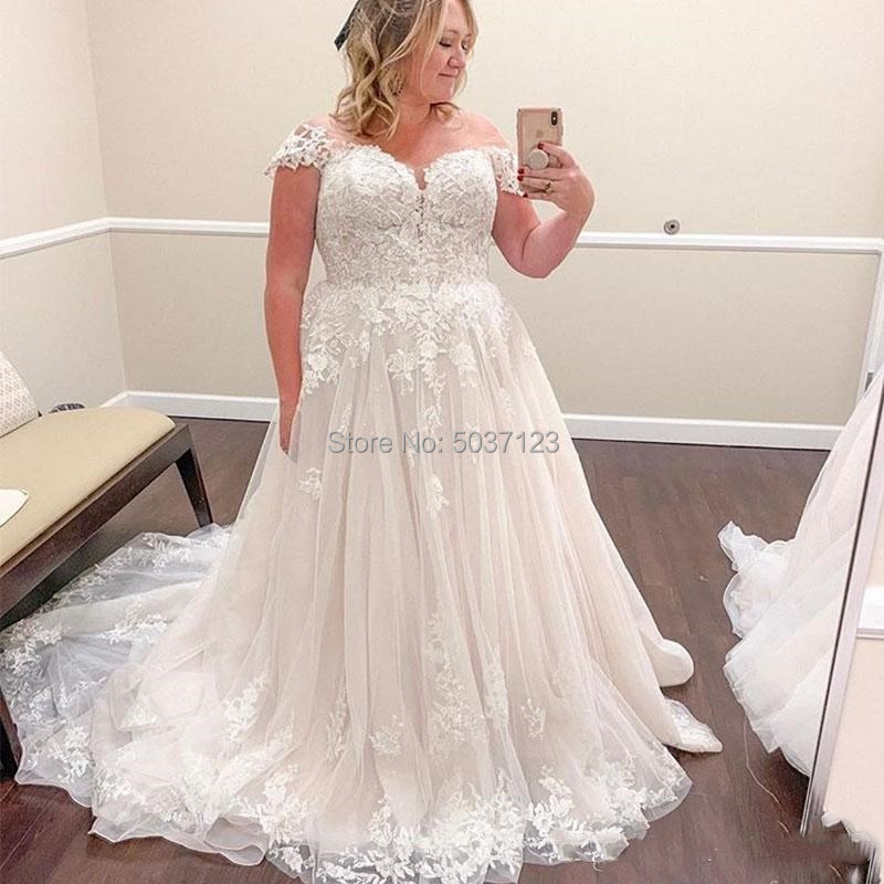 A Line Wedding Dresses Vestido De Noiva 2019 Off the Shoulder Lace Appliques Bridal Gowns Plus Size Elegant Robe De Mariee-in Wedding Dresses from Weddings & Events