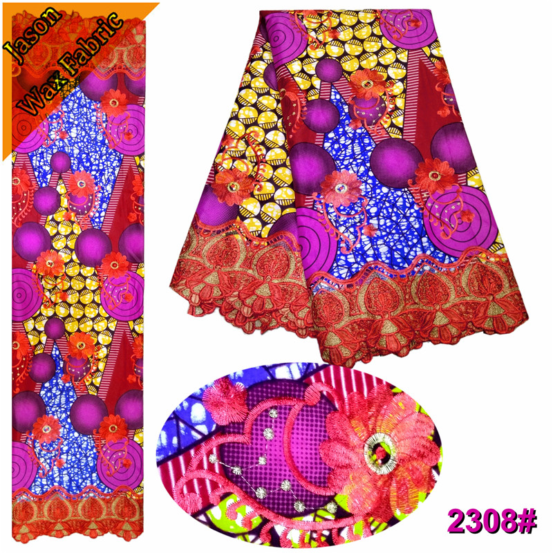 Latest African Guipure Wax Fabric With Lace Colorful Polyester Nigerian Prints Wax Lace Embroidered Ankara Lace Fabric/ LBL