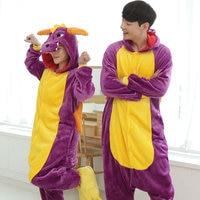 New Dinosaur Costume Adult Women Winter Flannel Sleepwear Dinosaur Pajamas All In One Party Pajama