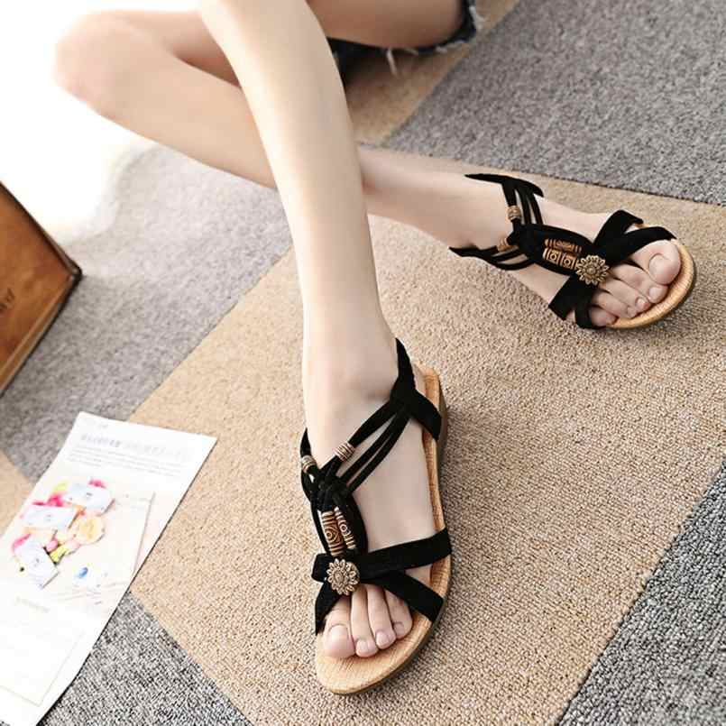 2018 Women's Casual Peep-toe Flat Buckle Shoes Roman Summer Sandals Luxury Chaussures Femme Brand Fashion Sapato Feminino 3.28