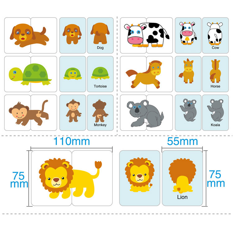 32 Pcs/Box Kids Puzzles Toy Baby Cognition Toddler Fruit/Animal/Life Cards Matching Game Infant Cognitive Card Gift -1 A