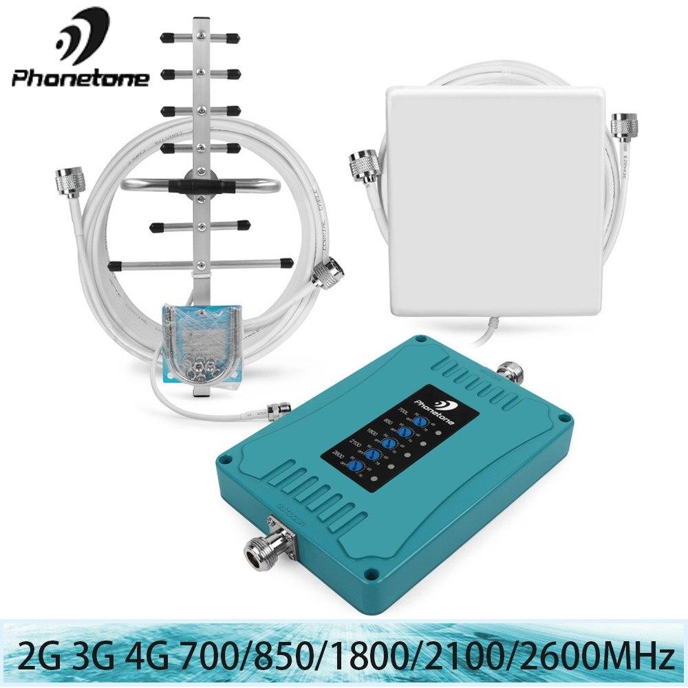 2G 3G 4G Amplificateur LTE 2600/1800/700/850/2100 MHz lte Répéteur téléphone portable Signal Booster 70dB Cellulaire Booster Bande 28/5/3/1/7