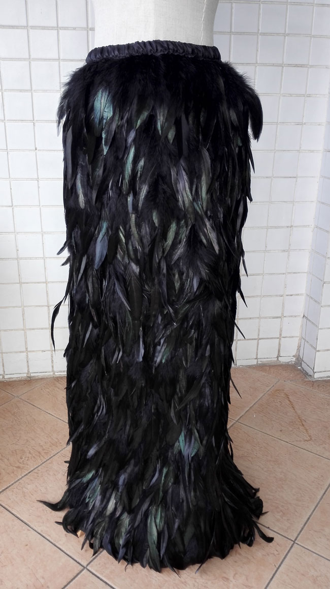 Free shipping long small A Line black rooster coque feather skirt with elastic waistband SKT15013