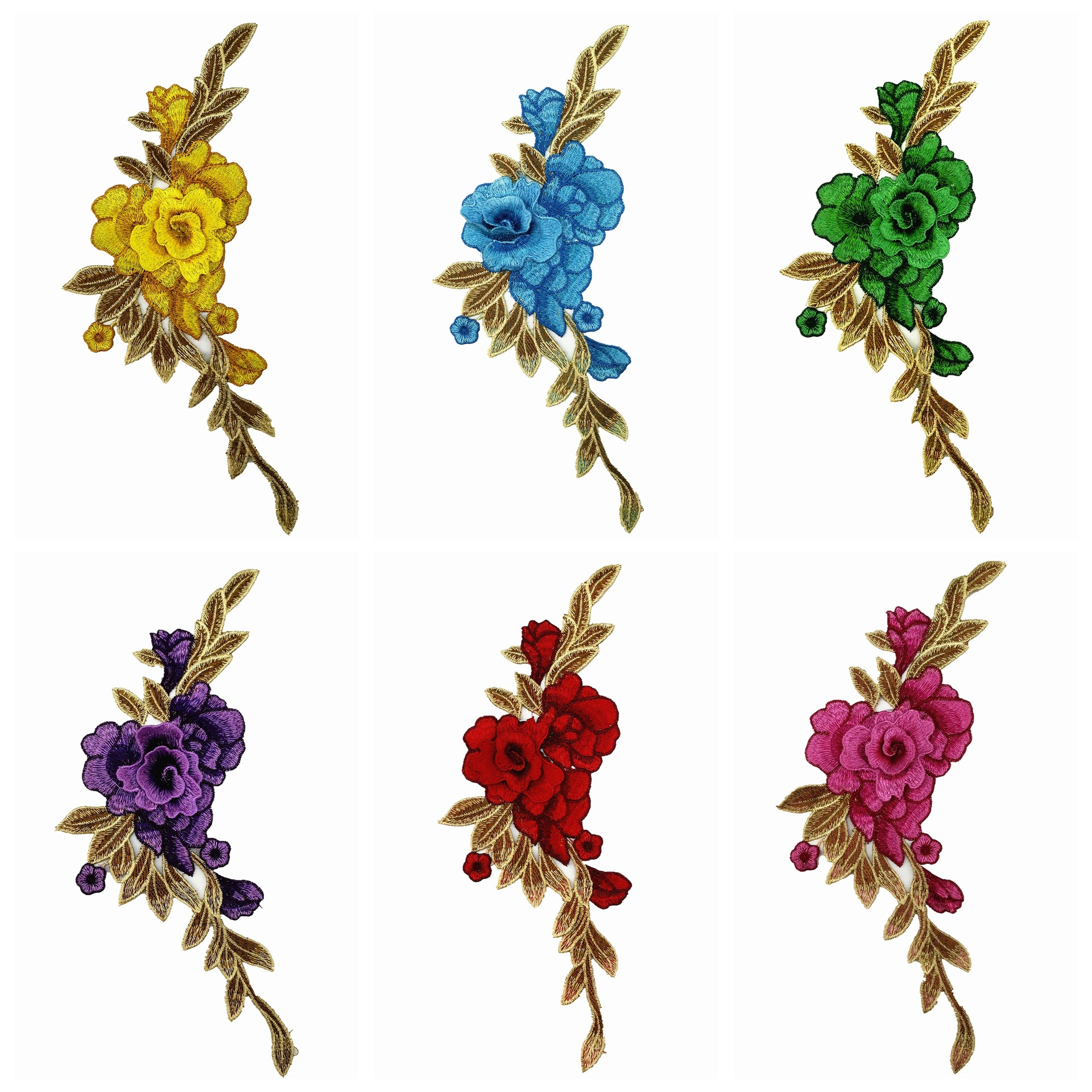 Fashion DIY Applique Water Soluble Embroidery  Costume Decoration Dimensional Colorful Neckband Applique Accessories Patch