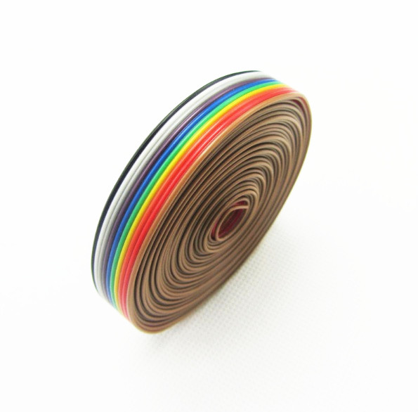 1 Meter 1.27mm Spacing Pitch10 WAY 10P Flat Color Rainbow Ribbon Cable Wiring Wire For PCB DIY 10 Way