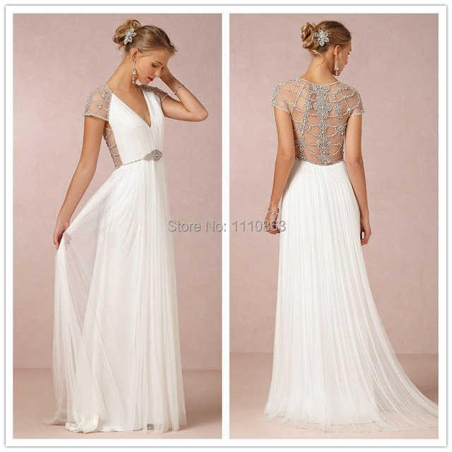 Aliexpress.com : Buy Sexy V Neck Beaded Back Simple White Wedding ...