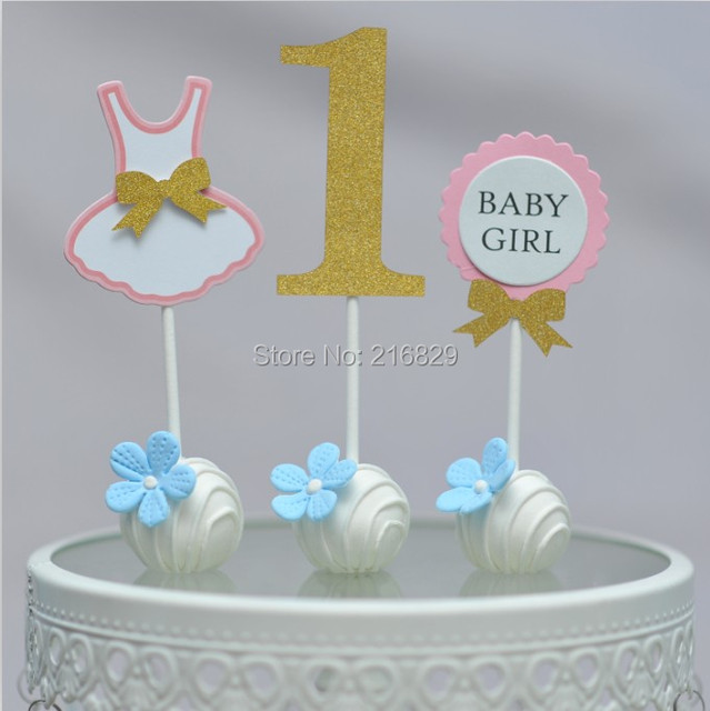 Free ship 1 Year Old Baby Girl Birthday Cake Top Set Of 3in Cake
