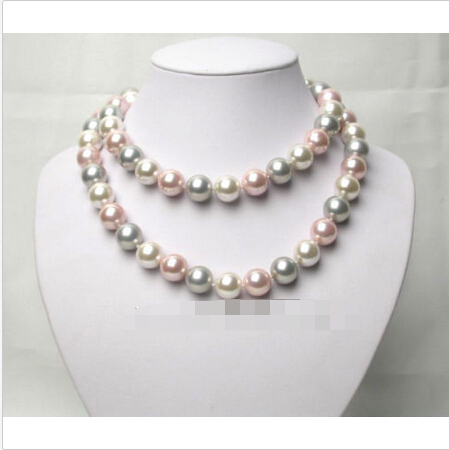 LIVRAISON GRATUITE >>>@@ AAA MEILLEURE ronde blanc rose gris coquillage perles collier @ ^ Noble style Naturel Fine jewe S