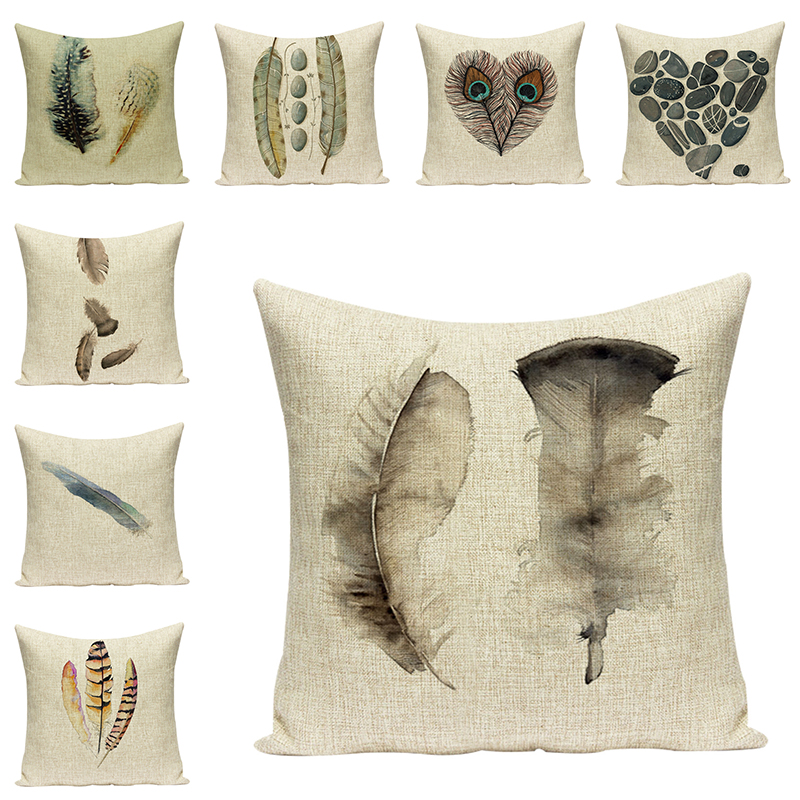 Feather Printed Decorative Cushions For