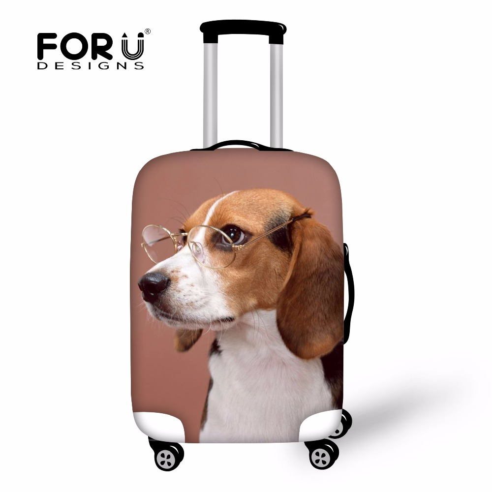 FORUDESIGNS Funny Animal Beagle Corgi Luggage Protective Covers Elastic Trolley Case for 18-30 Inch Cover Dust Rain Bag Suitcase